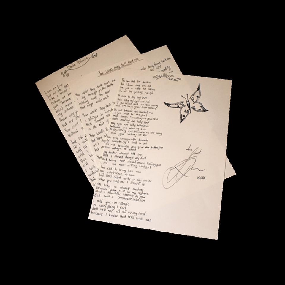 Outernet Song - Handwritten Lyric Sheet